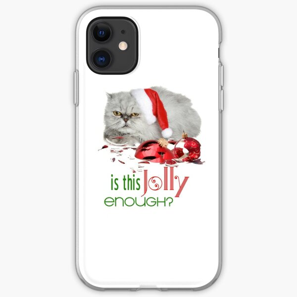 Funny Christmas Cat Jolly Enough iPhone Soft Case