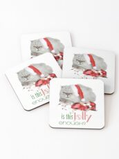 Funny Christmas Cat Jolly Enough Coasters