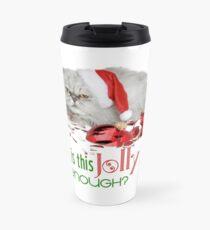 Funny Christmas Cat Jolly Enough Travel Mug
