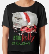 Funny Christmas Cat Jolly Enough Chiffon Top