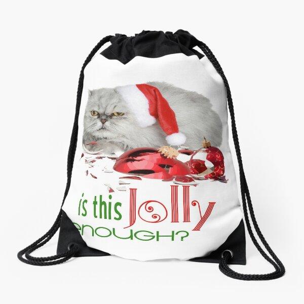 Funny Christmas Cat Jolly Enough Drawstring Bag