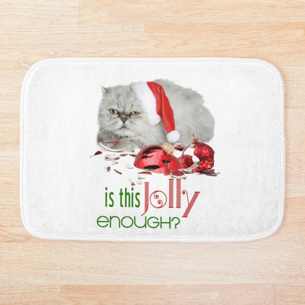 Funny Christmas Cat Jolly Enough Bath Mat