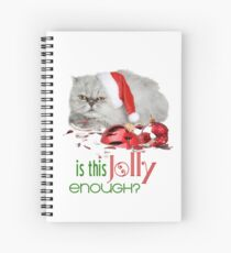 Funny Christmas Cat Jolly Enough Spiral Notebook