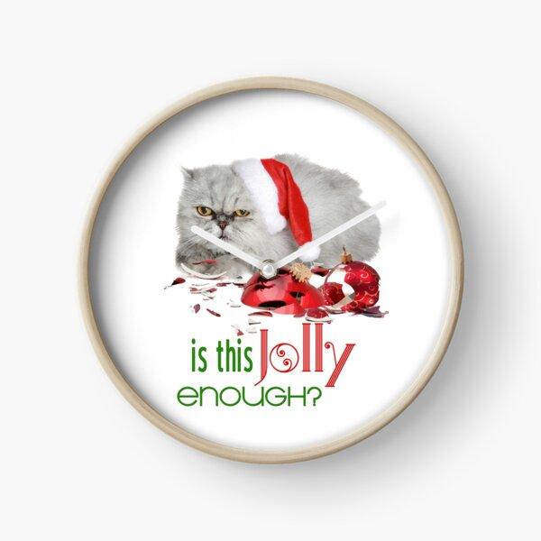Funny Christmas Cat Jolly Enough Clock