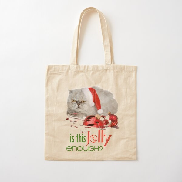 Funny Christmas Cat Jolly Enough Cotton Tote Bag