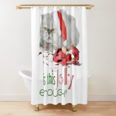 Funny Christmas Cat Jolly Enough Shower Curtain