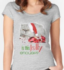 Funny Christmas Cat Jolly Enough Fitted Scoop T-Shirt