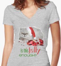 Funny Christmas Cat Jolly Enough Fitted V-Neck T-Shirt