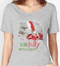 Funny Christmas Cat Jolly Enough Relaxed Fit T-Shirt