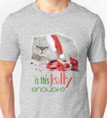 Funny Christmas Cat Jolly Enough Slim Fit T-Shirt