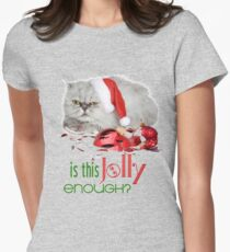 Funny Christmas Cat Jolly Enough Fitted T-Shirt