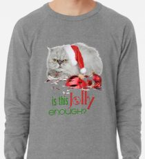Funny Christmas Cat Jolly Enough Lightweight Sweatshirt
