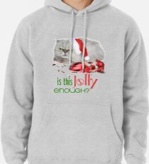 Funny Christmas Cat Jolly Enough Pullover Hoodie