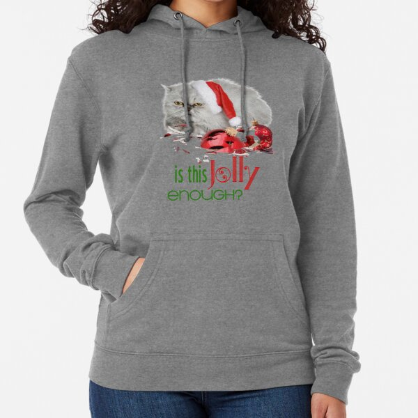 Funny Christmas Cat Jolly Enough Lightweight Hoodie