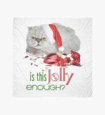Funny Christmas Cat Jolly Enough Scarf