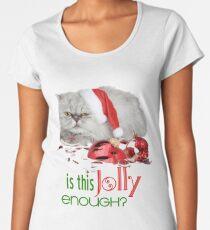 Funny Christmas Cat Jolly Enough Premium Scoop T-Shirt