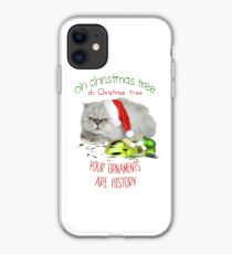Funny Christmas Cat Oh Christmas Tree iPhone Case