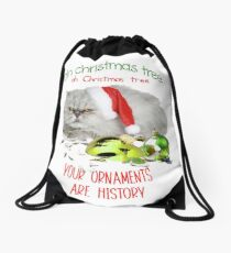 Funny Christmas Cat Oh Christmas Tree Drawstring Bag