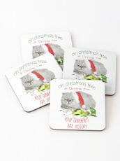 Funny Christmas Cat Oh Christmas Tree Coasters