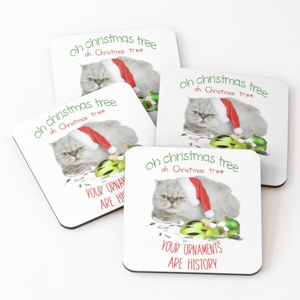 Funny Christmas Cat Oh Christmas Tree Coasters (Set of 4)