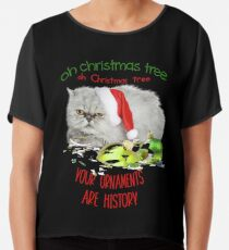 Funny Christmas Cat Oh Christmas Tree Chiffon Top