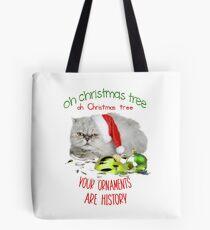 Funny Christmas Cat Oh Christmas Tree Tote Bag