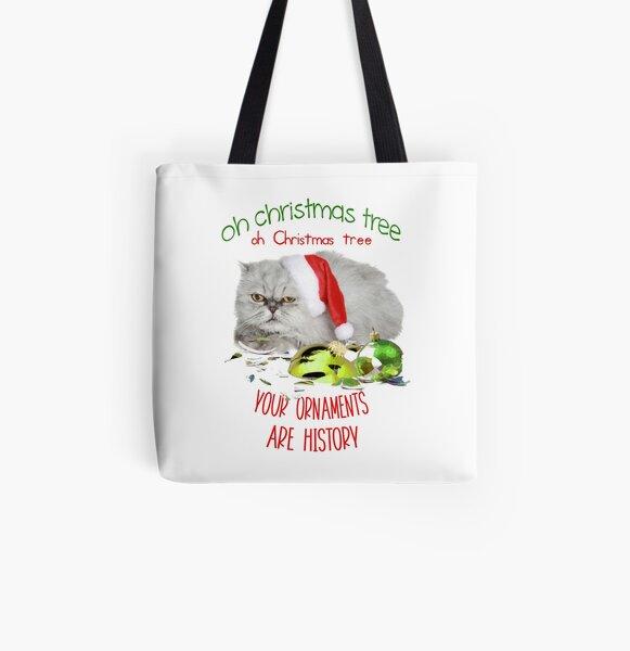 Funny Christmas Cat Oh Christmas Tree All Over Print Tote Bag