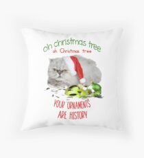 Funny Christmas Cat Oh Christmas Tree Throw Pillow