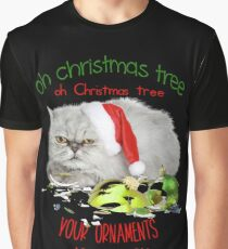 Funny Christmas Cat Oh Christmas Tree Graphic T-Shirt