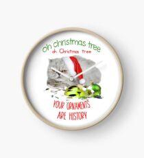 Funny Christmas Cat Oh Christmas Tree Clock