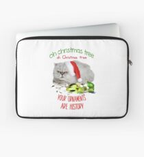 Funny Christmas Cat Oh Christmas Tree Laptop Sleeve