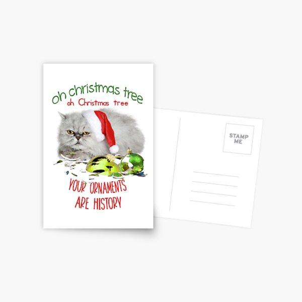 Funny Christmas Cat Oh Christmas Tree Postcard