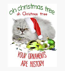 Funny Christmas Cat Oh Christmas Tree Photographic Print