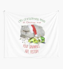 Funny Christmas Cat Oh Christmas Tree Wall Tapestry