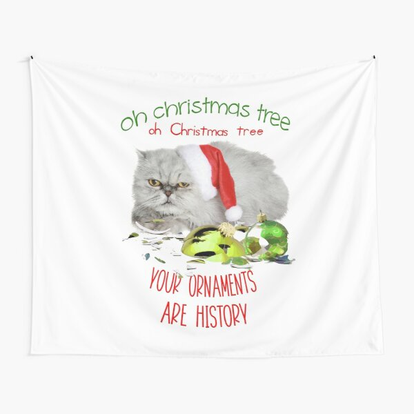 Funny Christmas Cat Oh Christmas Tree Tapestry