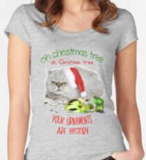 Funny Christmas Cat Oh Christmas Tree Fitted Scoop T-Shirt