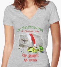 Funny Christmas Cat Oh Christmas Tree Fitted V-Neck T-Shirt