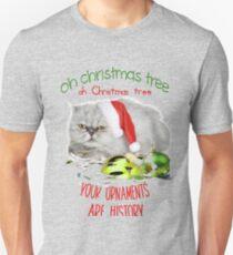 Funny Christmas Cat Oh Christmas Tree Slim Fit T-Shirt