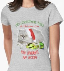 Funny Christmas Cat Oh Christmas Tree Fitted T-Shirt