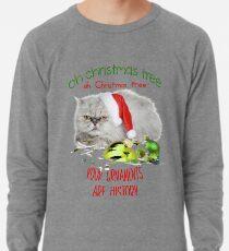 Funny Christmas Cat Oh Christmas Tree Lightweight Sweatshirt