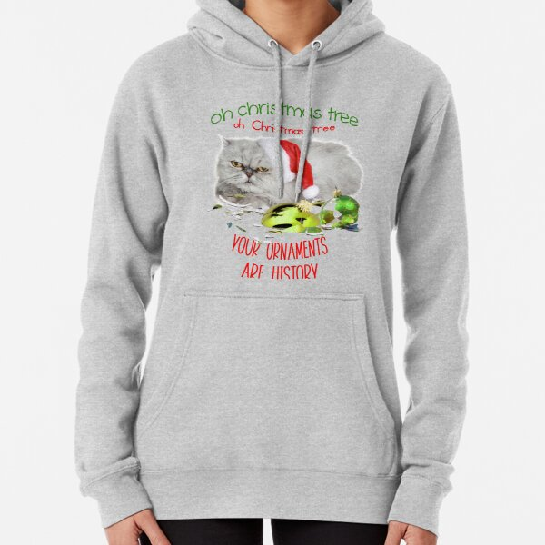Funny Christmas Cat Oh Christmas Tree Pullover Hoodie