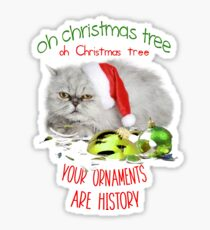 Funny Christmas Cat Oh Christmas Tree Glossy Sticker