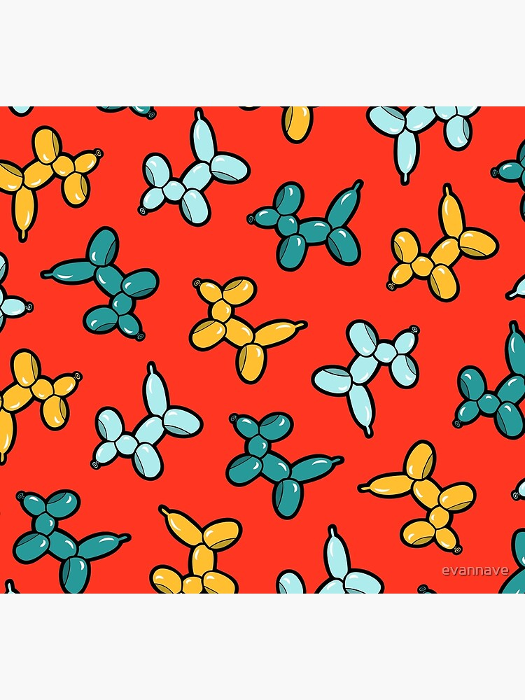 Balloon Animal Dogs Pattern in Red by evannave