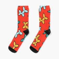 Balloon Animal Dogs Pattern in Red Socks