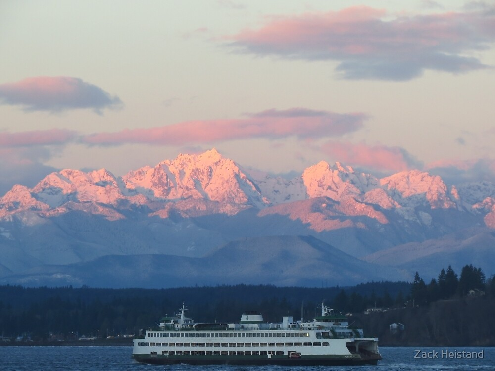 WSF Ferry and Olympic Mountains by Zack Heistand