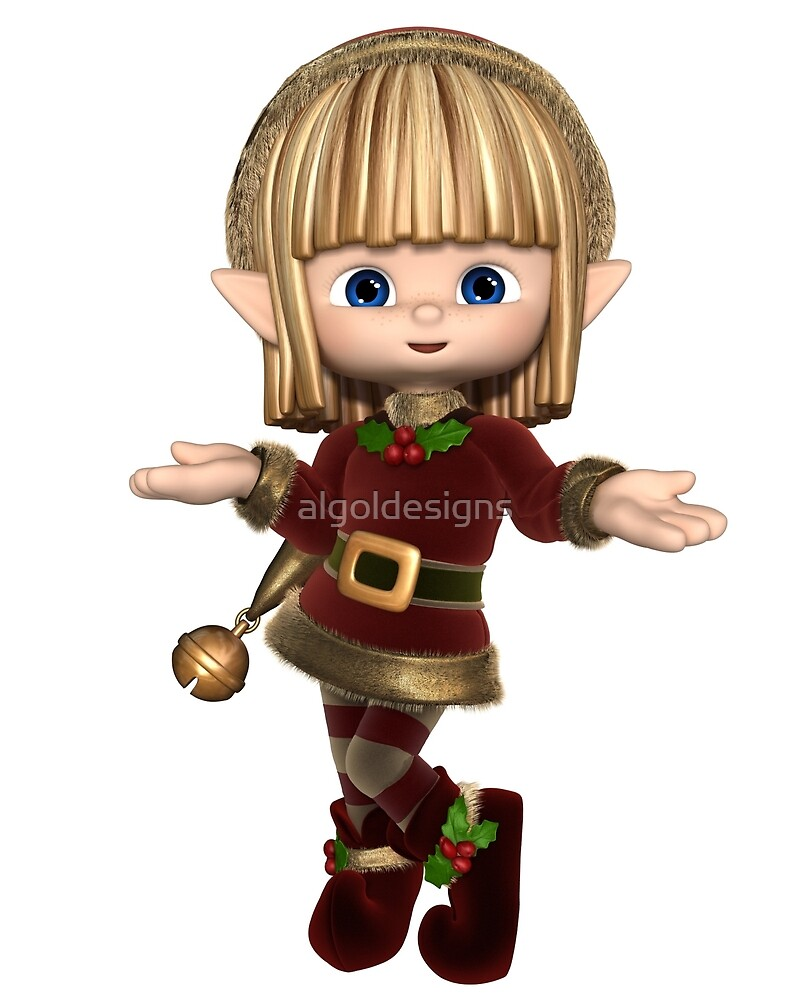 Cute Happy Toon Christmas Elf by algoldesigns