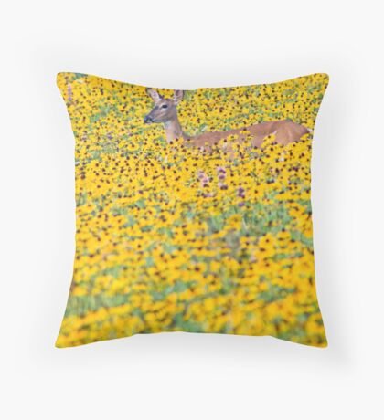 Deer in a Field of Wildflowers Throw Pillow