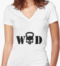 WOD Kettlebell Skull Black Women's Fitted V-Neck T-Shirt