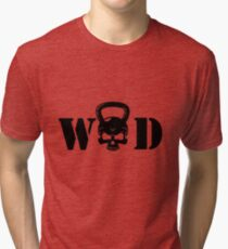 WOD Kettlebell Skull Black Tri-blend T-Shirt