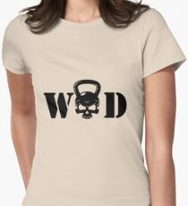WOD Kettlebell Skull Black Womens Fitted T-Shirt